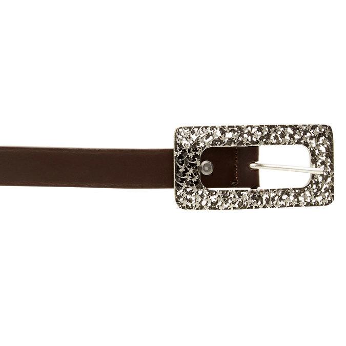 Skórzany pasek z wyrazistą klamrą bata, brązowy, 954-4231 - 26