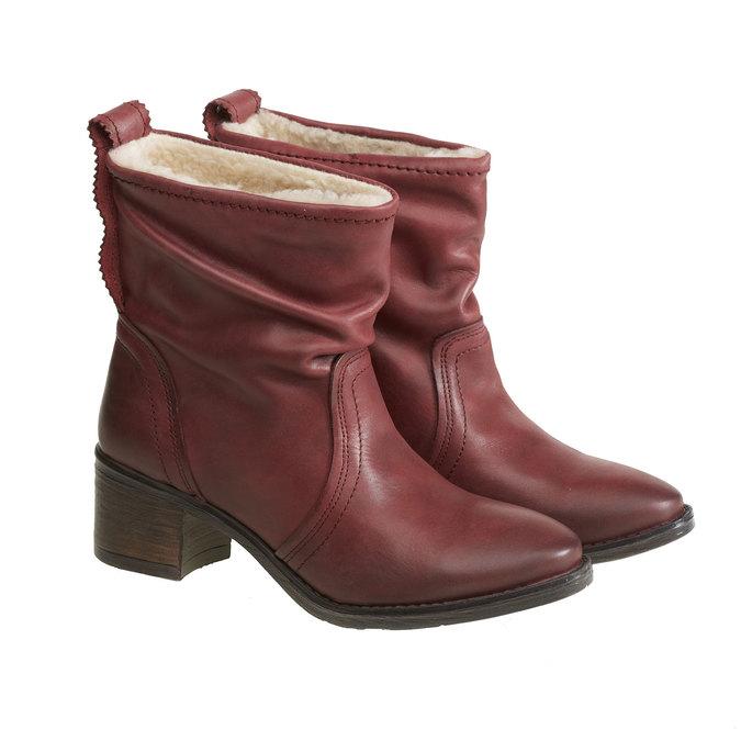 Skórzane botki bata, czerwony, 696-5108 - 26