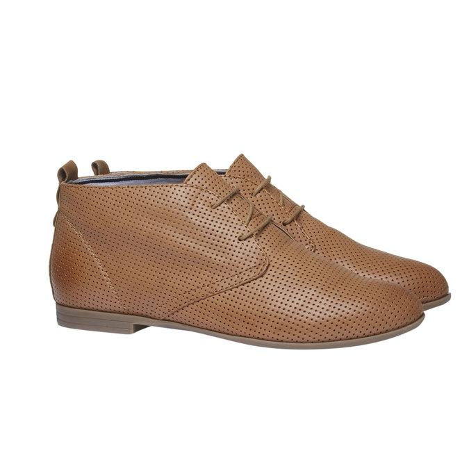 Skórzane botki z perforacją bata, brązowy, 526-3495 - 26