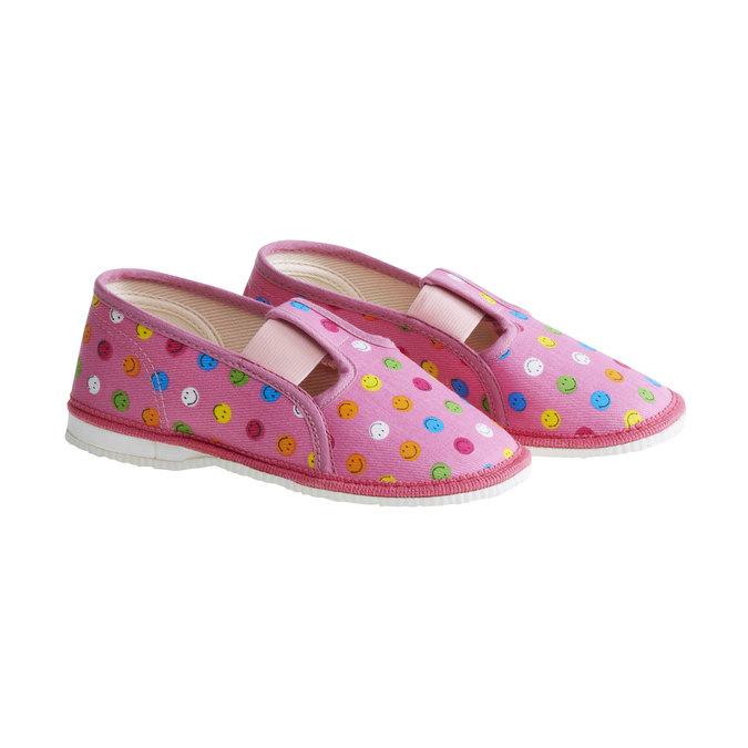 Dziecięce pantofle z uśmieszkami bata, różowy, 179-5105 - 26