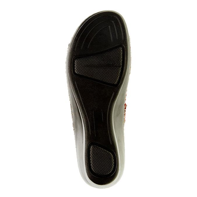 Damskie pantofle na koturnie, czerwony, 674-5249 - 26