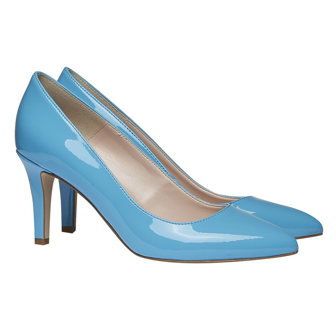 Niebieskie skórzane czółenka bata, niebieski, 728-9955 - 26