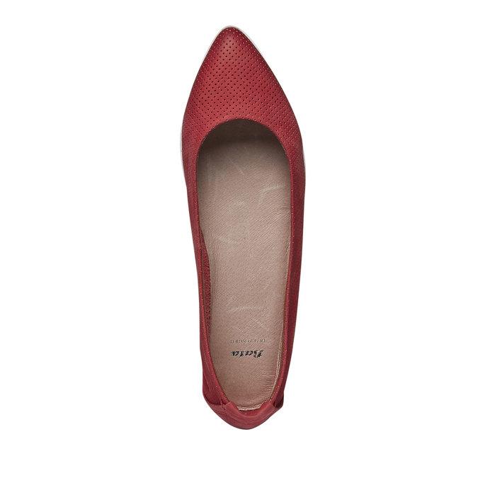 Skórzane baleriny z perforacją bata, czerwony, 526-5486 - 19
