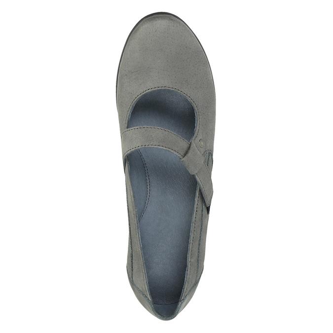 Baleriny ze skóry z paskiem w poprzek podbicia bata, szary, 524-2497 - 19