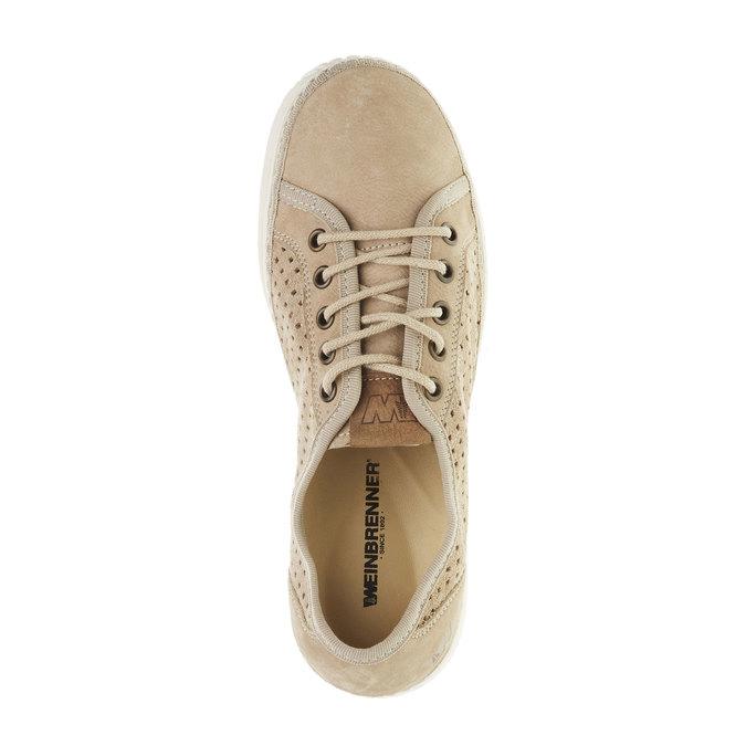 Skórzane buty sportowe z perforacją weinbrenner, beżowy, 546-8238 - 19