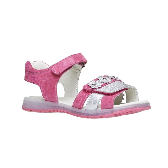 Skórzane sandały z kwiatami mini-b, różowy, 263-5163 - 13