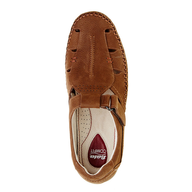 Męskie skórzane sandały, brązowy, 866-4184 - 19