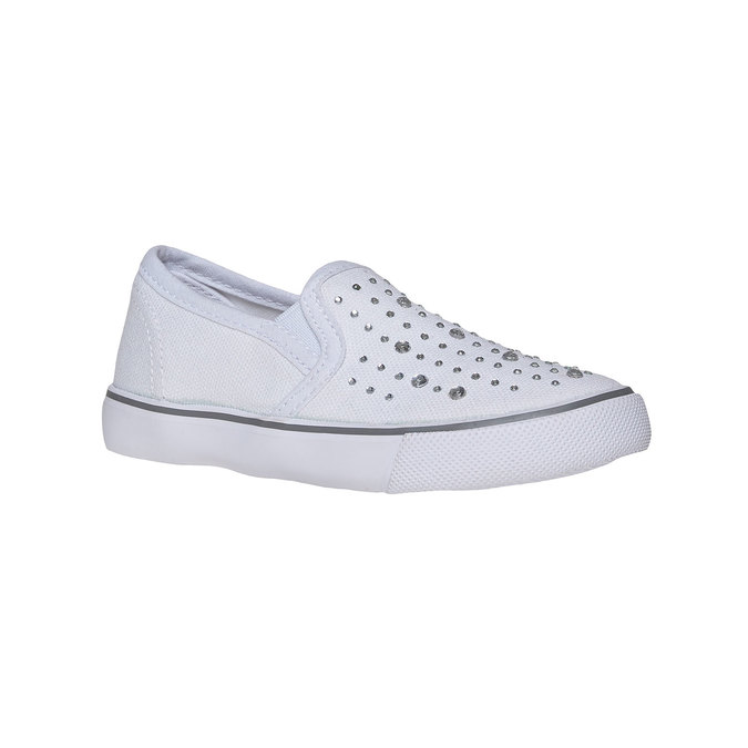 Dziewczęce buty Slip on z kryształkami mini-b, biały, 229-1148 - 13