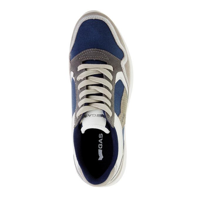 Męskie skórzane buty sportowe gas, niebieski, biały, szary, 843-9606 - 19