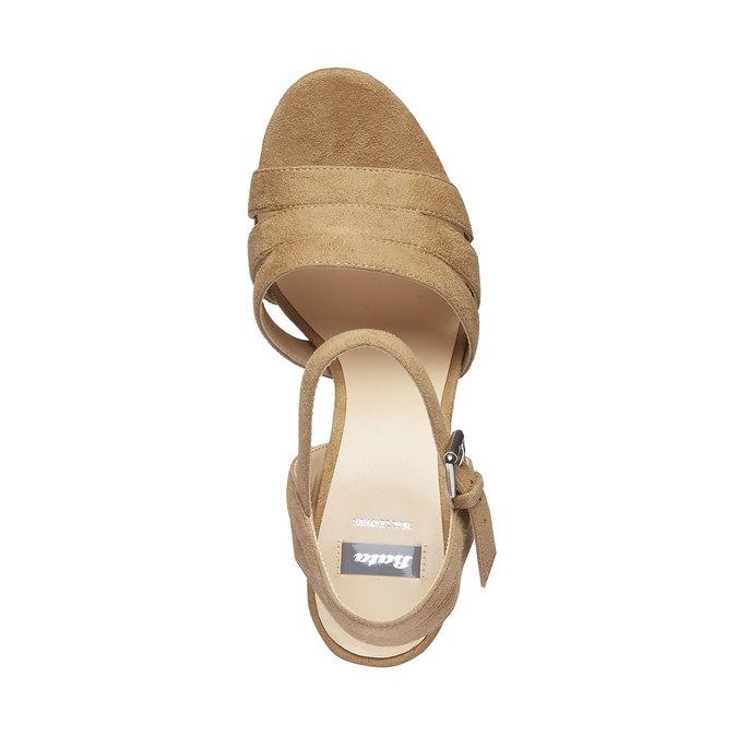 Damskie sandały na masywnym obcasie bata, brązowy, 769-8484 - 19