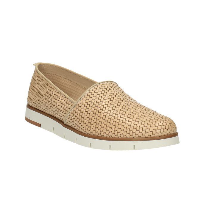 Damskie skórzane buty Slip-On flexible, beżowy, 515-8203 - 13