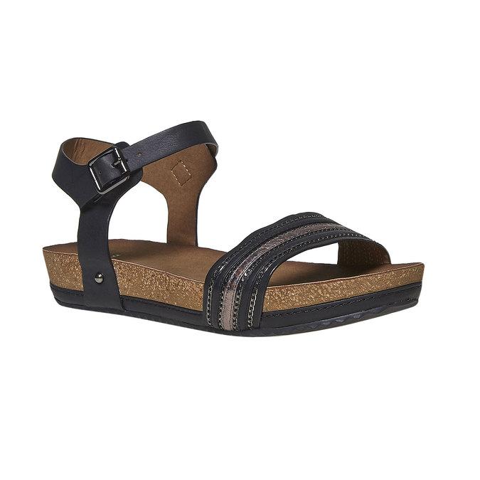 Damskie sandały na wyrazistej podeszwie bata, czarny, 561-6404 - 13