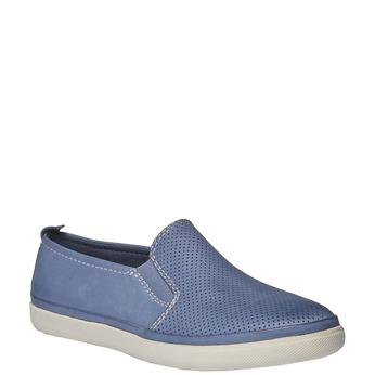 Skórzane buty Plim Soll z perforacją bata, niebieski, 514-9197 - 13