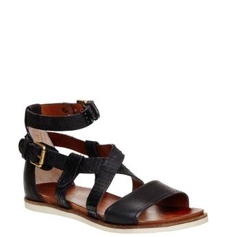 Damskie skórzane sandały bata, czarny, 566-6103 - 13