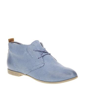Skórzane botki z perforacją bata, niebieski, 526-9495 - 13