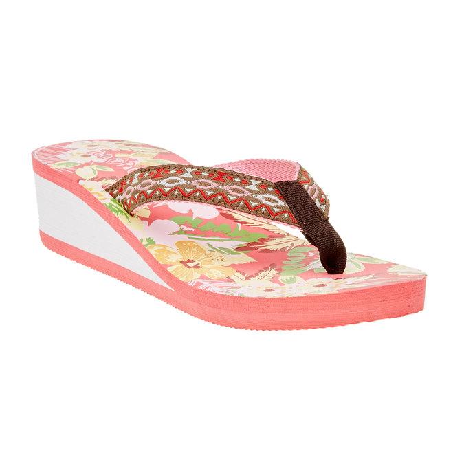 Japonki damskie na koturnie pata-pata, różowy, 581-5602 - 13