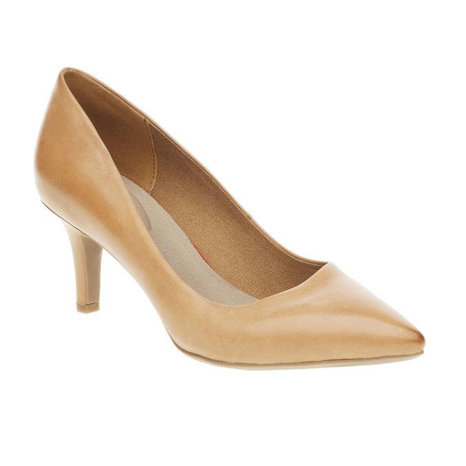 Skórzane czółenka z komfortową wkładką bata, brązowy, 624-3388 - 13