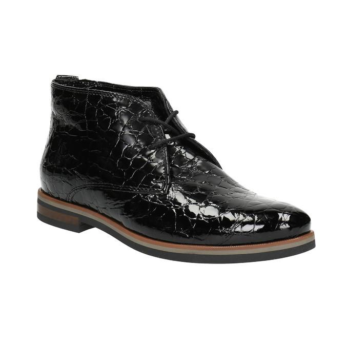 Damskie półbuty ze skóry za kostkę bata, czarny, 598-6601 - 13