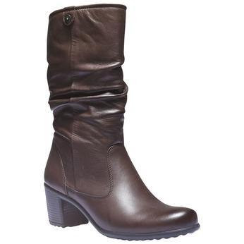 Skórzane kozaki bata, brązowy, 694-4112 - 13