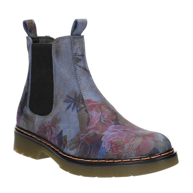 Skórzane Chelsea Boots z kwiatowym wzorem bata, niebieski, 596-9620 - 13