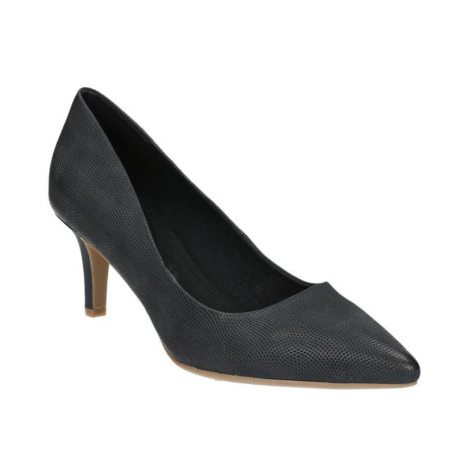 Czółenka damskie na średnio wysokim obcasie bata, czarny, 626-9601 - 13