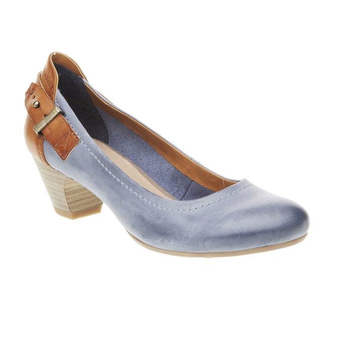 Skórzane czółenka z paskiem bata, niebieski, 624-9391 - 13
