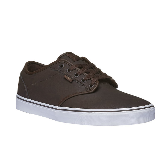 Męskie buty sportowe z białą podeszwą vans, brązowy, 801-4300 - 13