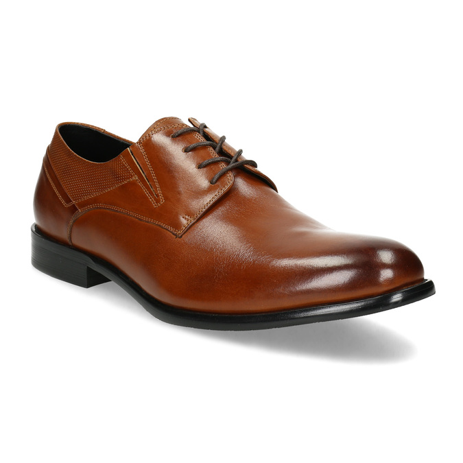 Męskie skórzane półbuty bata, brązowy, 824-4722 - 13