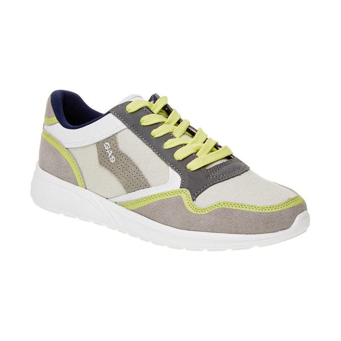 Męskie skórzane buty sportowe gas, beżowy, żółty, 843-8606 - 13