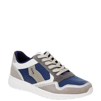 Męskie skórzane buty sportowe gas, niebieski, biały, szary, 843-9606 - 13