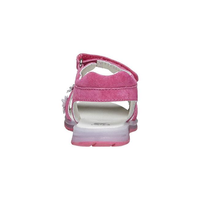 Skórzane sandały z kwiatami mini-b, różowy, 263-5163 - 17
