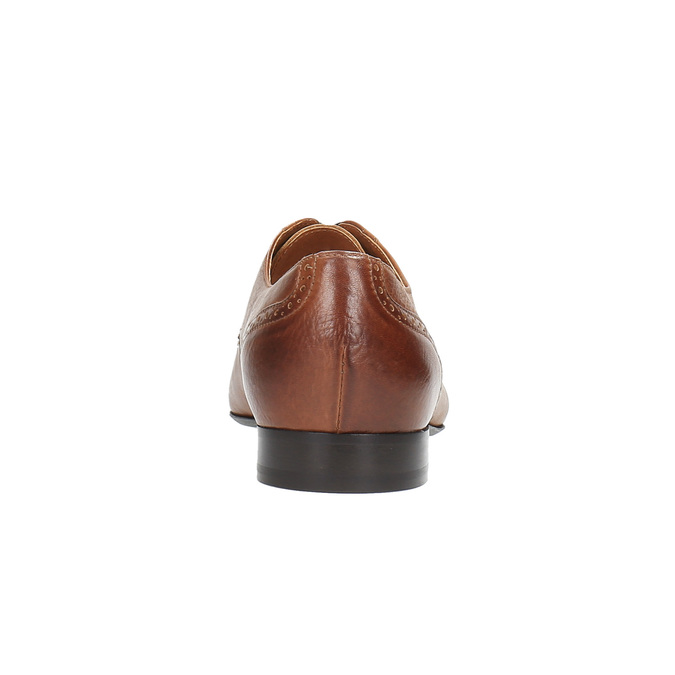 Skórzane półbuty ze zdobieniami na nosku conhpol, brązowy, 824-4690 - 17