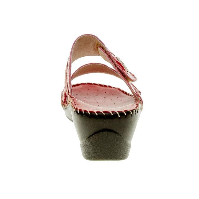 Damskie pantofle na koturnie, czerwony, 674-5249 - 17