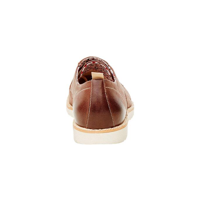 Skórzane półbuty z wyrazistą podeszwą bata, brązowy, 824-4694 - 17
