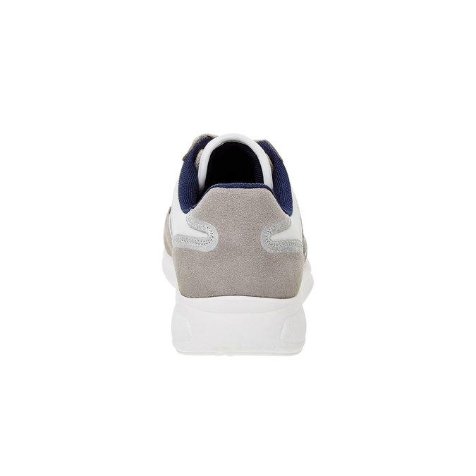 Męskie skórzane buty sportowe gas, niebieski, biały, szary, 843-9606 - 17