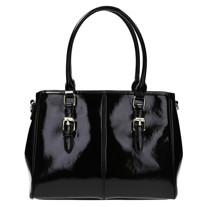Czarna lakierowana torebka bata, czarny, 961-6619 - 19