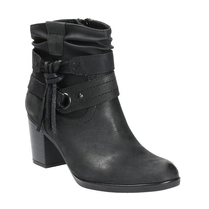 Skórzane botki kowbojki bata, czarny, 696-6610 - 13