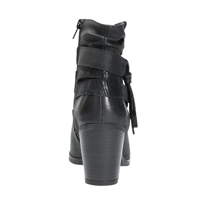 Skórzane botki kowbojki bata, czarny, 696-6610 - 17