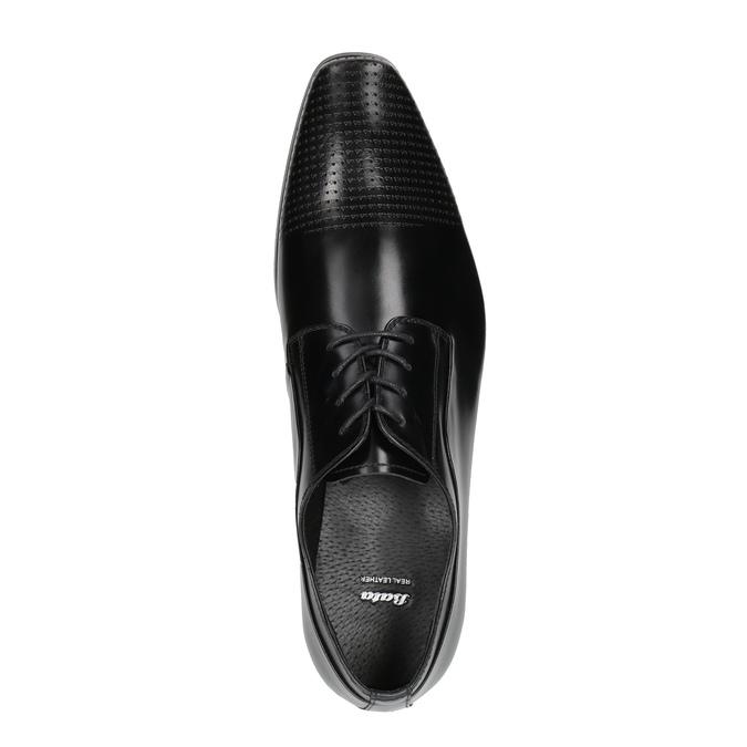 Męskie skórzane półbuty ze zdobionym noskiem bata, czarny, 824-6689 - 19