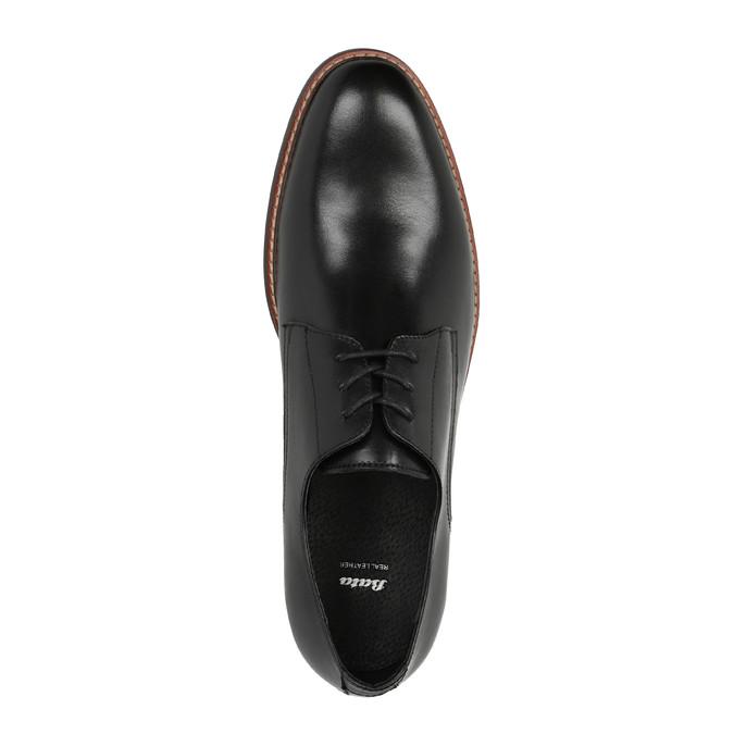 Czarne skórzane półbuty z wyrazistym stębnowaniem bata, czarny, 824-6684 - 19