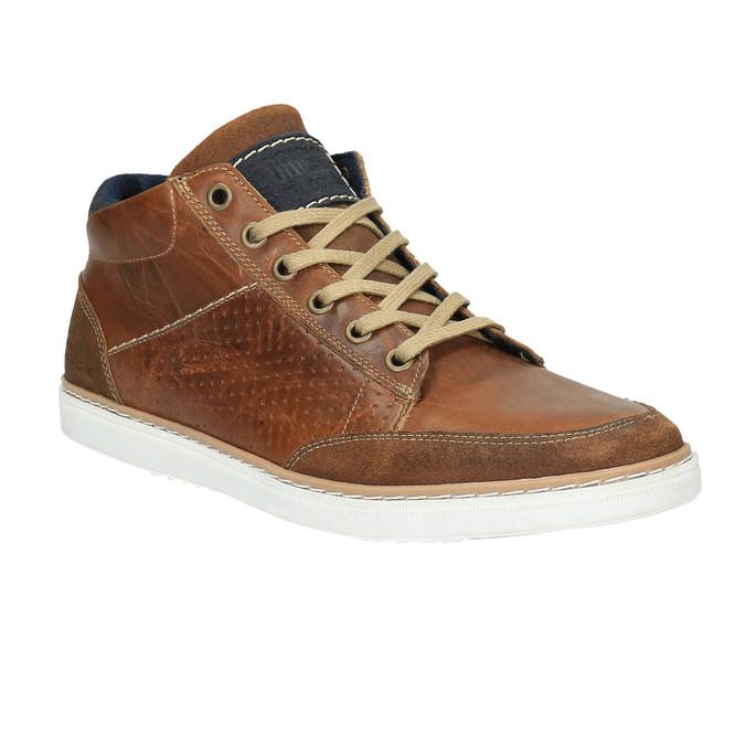 Skórzane trampki za kostkę bata, brązowy, 844-4621 - 13