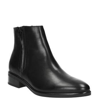 Czarne skórzane botki z suwakami bata, czarny, 594-6518 - 13
