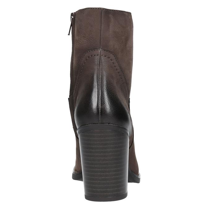 Skórzane botki na masywnym obcasie bata, brązowy, 696-4612 - 17
