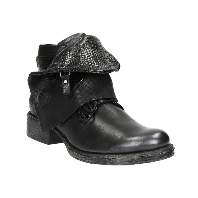 Skórzane botki z szerokim mankietem bata, czarny, 596-6617 - 13