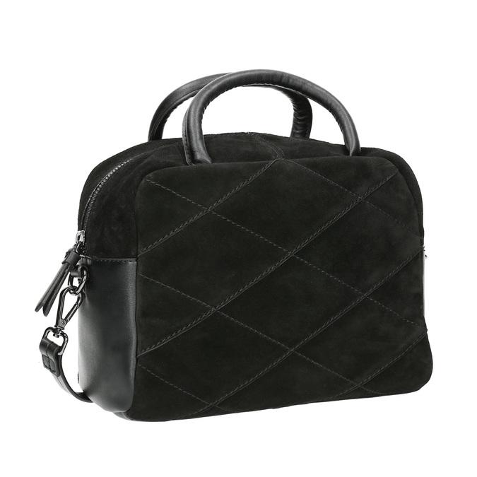 Mała skórzana torebka z paskiem bata, czarny, 963-6133 - 13