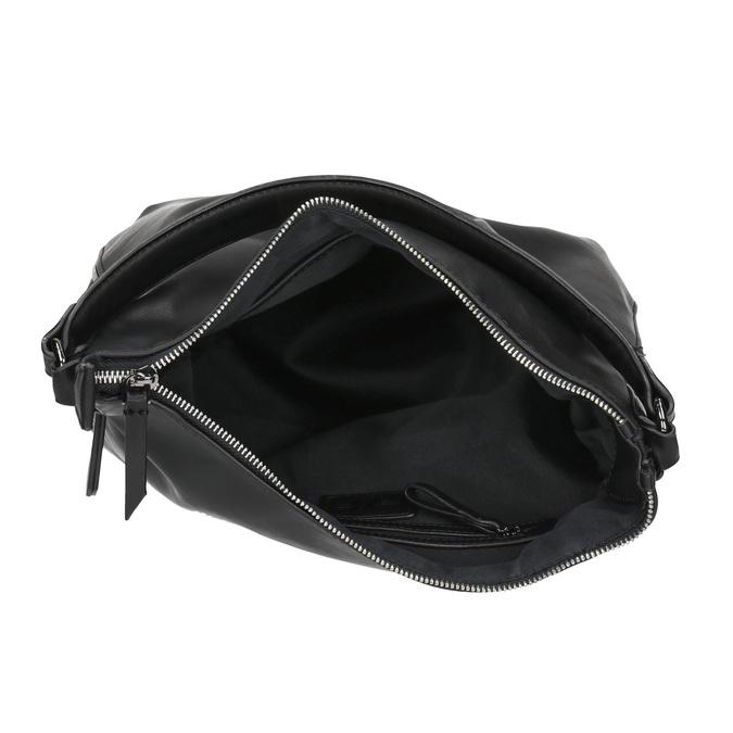 Torebka w stylu Hobo z detalem zamka bata, czarny, 961-6609 - 15