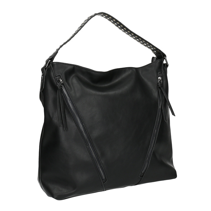 Damska torebka z suwakami bata, czarny, 961-6127 - 13