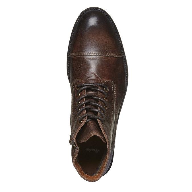 Skórzane botki z charakterystycznymi przeszyciami bata, brązowy, 894-4125 - 19
