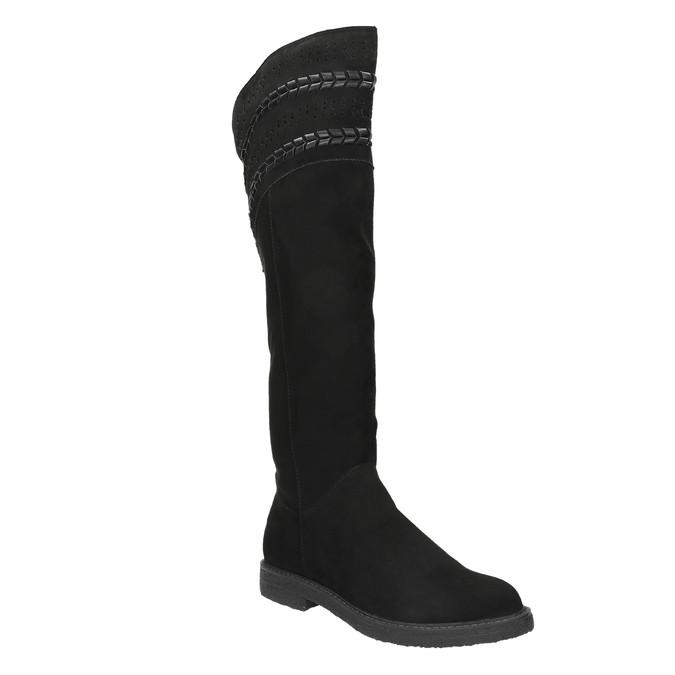 Czarne kozaki damskie za kolana bata, czarny, 599-6602 - 13