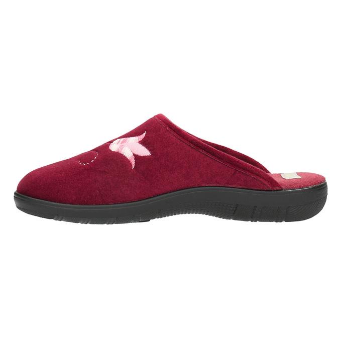 Kapcie damskie zhaftem bata, czerwony, 579-5603 - 26